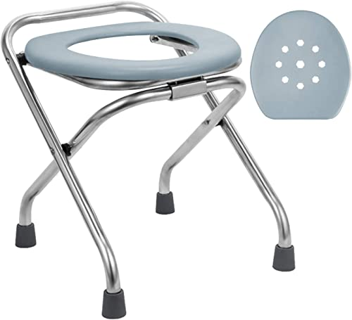 BLIKA 16.5 High Stainless Steel Folding Commode Portable Toilet Seat, Commode Chair with Lid, Camp Toilet Seat Perfect for Camping, Hiking, Trips, Construction Sites