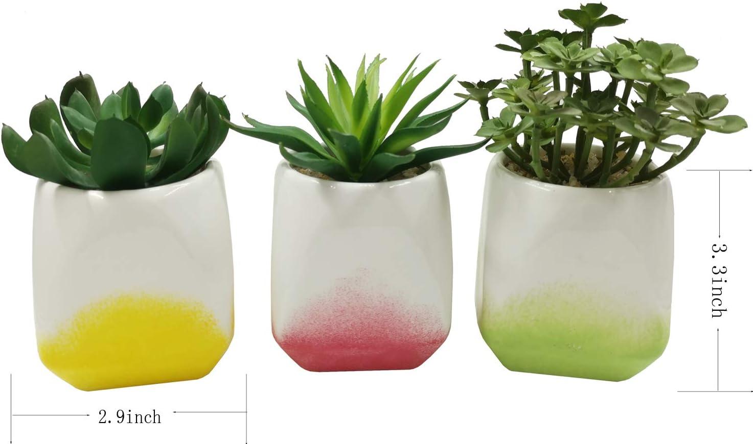 Piante grasse finte Set di 3 pianta Artificiale in Vaso per Decorazioni di casa e Ufficio Piante succulente Artificiale con Vaso Geometrico in Ceramica Piante grasse finte JIUCHEN