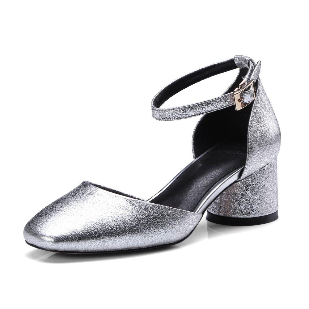 MUYII Damen Fruuml;hling Und Sommer Sandalen Damen Leder Flach Knouml;chelriemen Schuhe  38|Silver