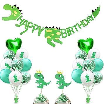 Dinosaurio Feliz cumpleaños Banner Fiesta Pastel Decoración Topper Dinosaurio Látex Globos Amor Corazón Globos Verde Confeti Globos Baby Shower Selva ...