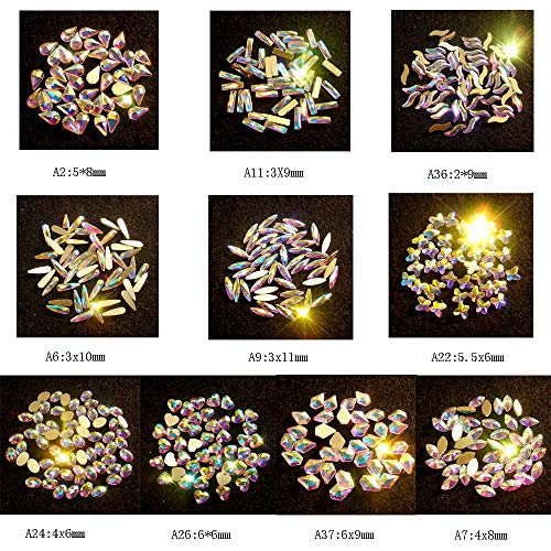 Nail Crystals AB Mixed 100pcs FlatBack AB Crystal Rhinestones Gems for 3D Nail Art, Decorating Cell Phone, Lighter, Clothes, Face, Shoes, Jewelry (100 Mix Shape)