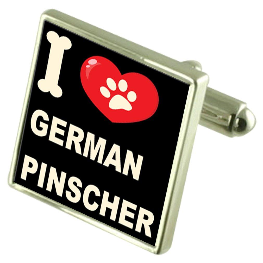 Select Gifts I Love My Dog Silver-Tone Cufflinks German Pinscher