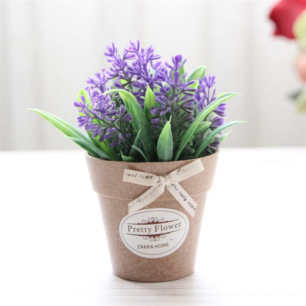 JruF 田園造花 小さな盆栽セット プラスチック 小さな鉢植え装飾 花 バジル ラベンダークラフト M パープル art829s8002 B07GWT3DK8 パープル Medium