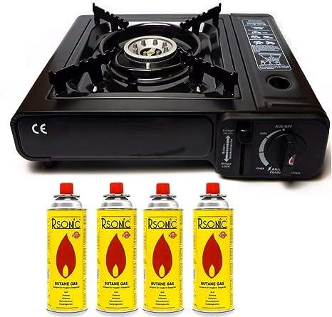 Hornillo de gas para camping con 8 cartuchos de gas de 2,3 kW + cruz Phönix PH-T01 + maletín (color negro, rojo, azul, verde oscuro o gris)