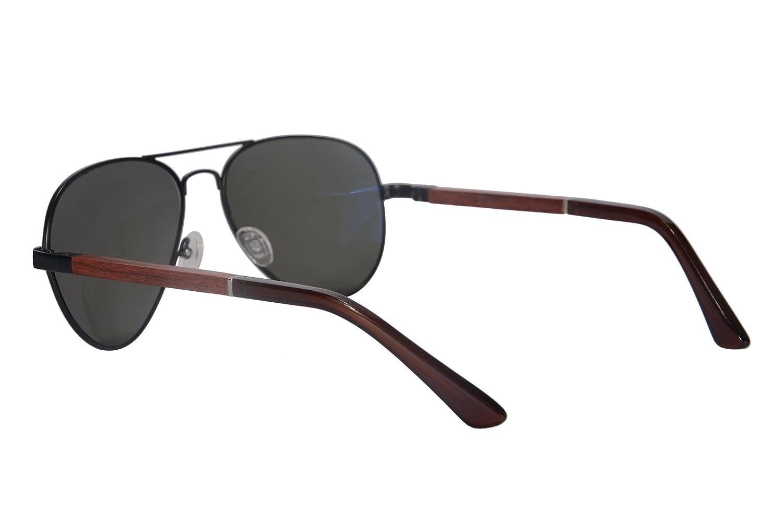 SHINU Neue Art-Sonnenbrille aus Metall Holz Tempel polarisierter Spiegel-Objektiv Unisex Pilotensonnenbrille 1570 (gun grey ) l9cnN