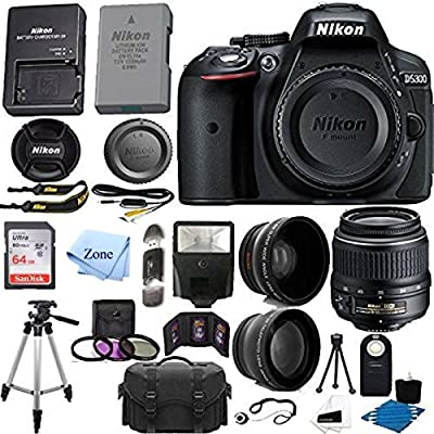 Nikon D5300 24.2 MP CMOS Digital SLR Camera with 18-55mm f/3.5-5.6G ED VR Auto Focus-S DX NIKKOR Zoom Lens +64GB SD Card + accessory Bundle by Accessory Zone