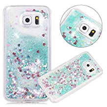 Galaxy S6 Edge Case, NOKEA Galaxy S6 Edge Case Flowing Liquid Floating Luxury Bling Glitter Sparkle Love Heart Case Cover Fashion Creative for Grils Children (Green)