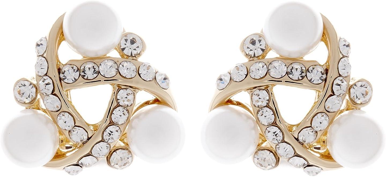 Clip en los pendientes - chapado en oro pendiente del nudo con piedras de cristal claros y perlas - Alice por Bello London
