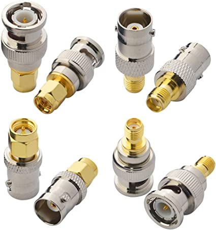 8x BNC Coaxial Coax Male Plug to F Type Female Jack Cable Adapter Connector