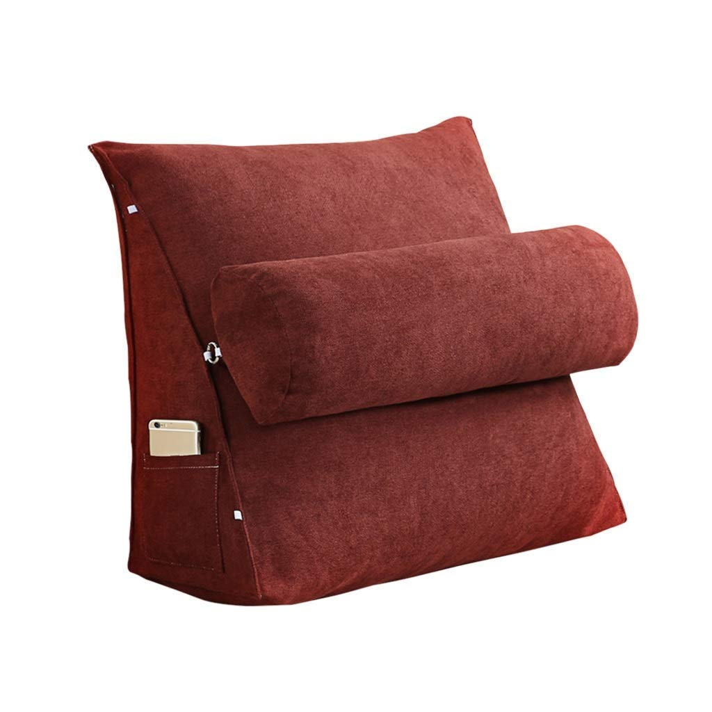 Lil Band Head Pillow Triangle Cushion, Sofa Office Bay Window Lumbar Pillow/Lumbar Support Waist/Pillow (can Be Adjusted in Three Steps) (Color : Red, Size : 60x50x20cm)