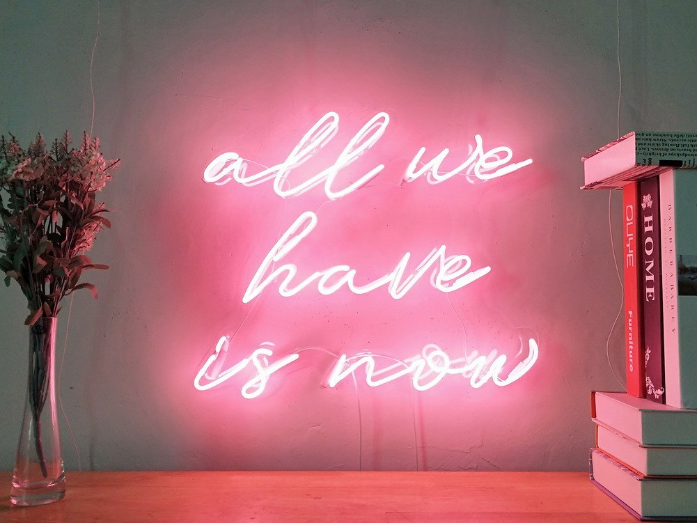 All We Have Is Now Real Glass Neon Sign For Bedroom Garage Bar Man Cave Room Home Decor Handmade Artwork Visual Art Dimmable Wall Lighting Includes Dimmer