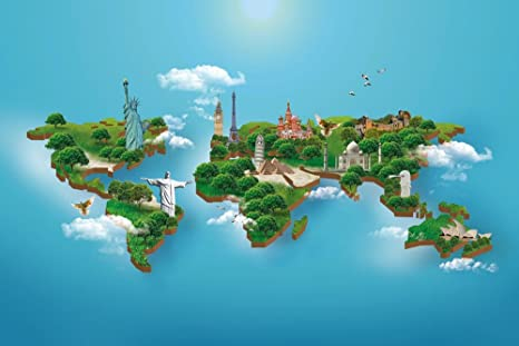 Buy World Map Poster Peel and Stick Wallpaper in Different ...