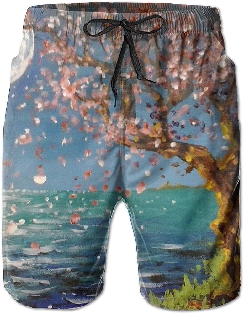 Art Landscape Mens Beach Shorts Elastic Waist Pockets Lightweight Swimming Board Short Quick Dry Short Trunks