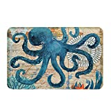 Econie Octopus Door Mat Ocean Animal Home Bathroom Bath Shower Bedroom Mat Toilet Floor Door Mat 15.7X23.6 IN (04)