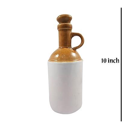 India Meets India Botella de corcho de cerámica hecha a mano para almacenamiento de vino de
