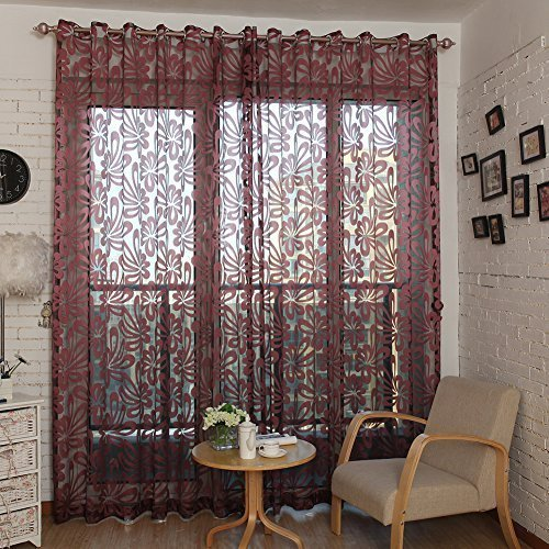 Top Finel Window Treatments Sheer Curtain Panels For Living Room 76 Inch  Width X 84 Inch Length,Burgundy,Single Panel,Grommets
