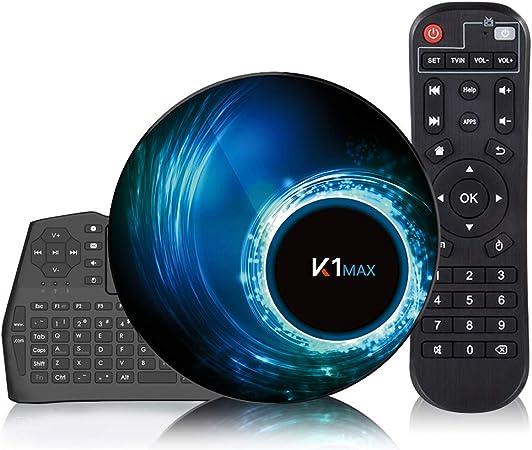 Caja de TV Android 10.0 [4G + 32G] con mini teclado inalámbrico, caja de Android RK3318 de 64 bits con procesador de chip de cuatro núcleos, Wi-Fi ...