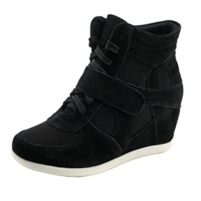 0f94a7e94b Women's Formal Wedge Hidden Heel Black Suede Leather Fashion Sneaker,4.5US