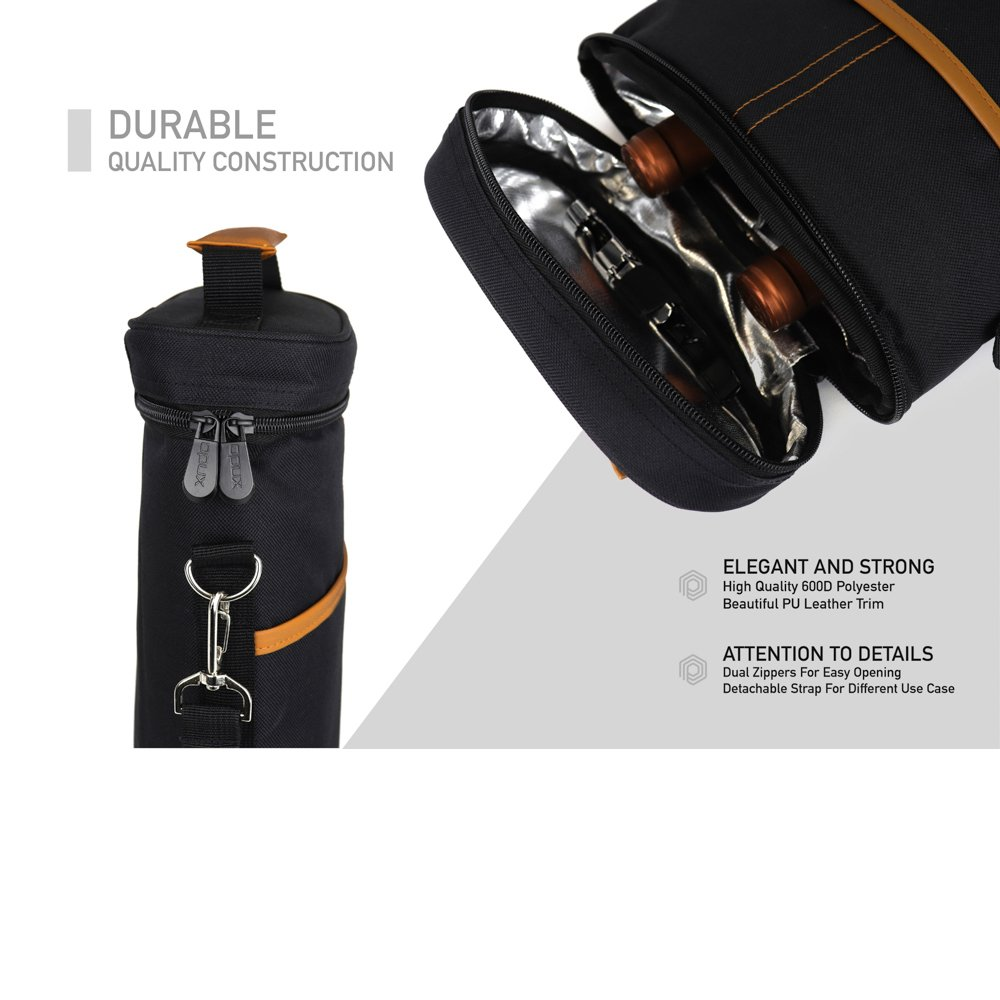 and Corkscrew Opener Wine Travel Cooler Bag OPUX Padded Protection Wine Carrier Bag with Shoulder Strap Premium Insulated 2 Bottle Wine Tote