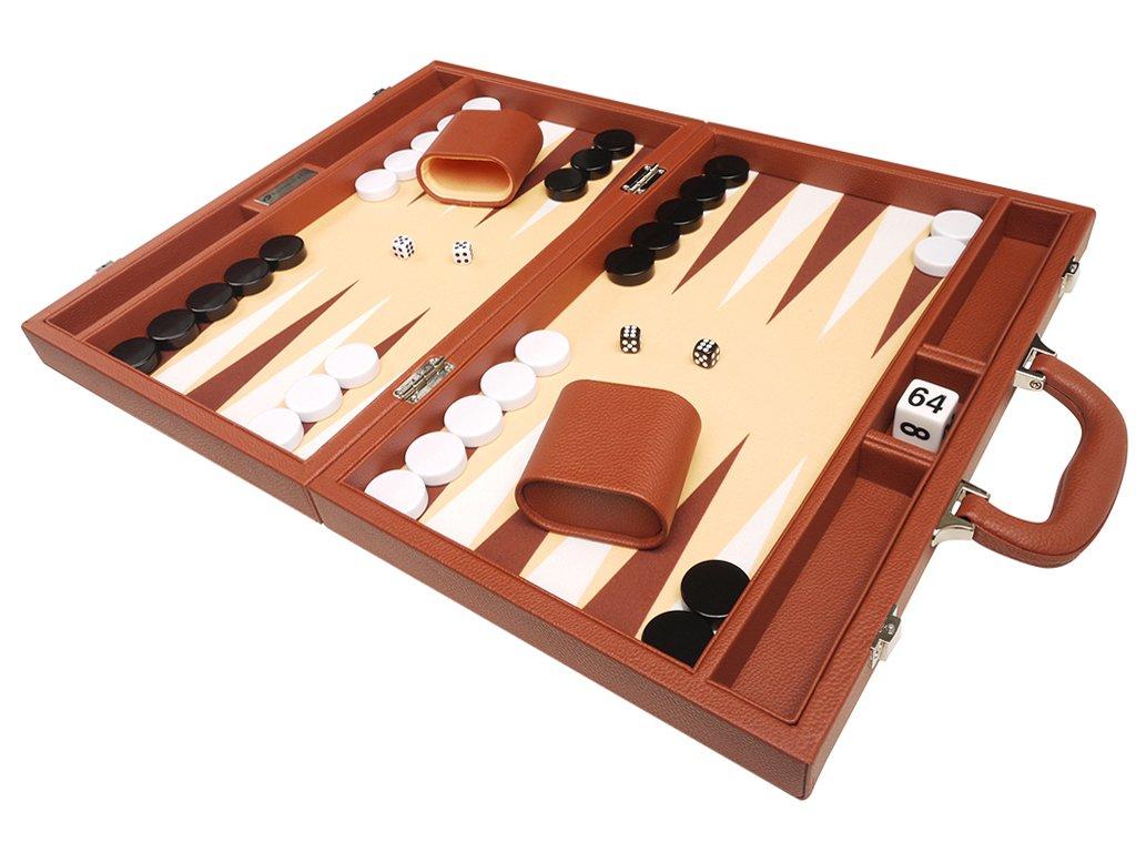 16-inch Premium Backgammon Set - Medium Size - Desert Brown Board B018RFNG32