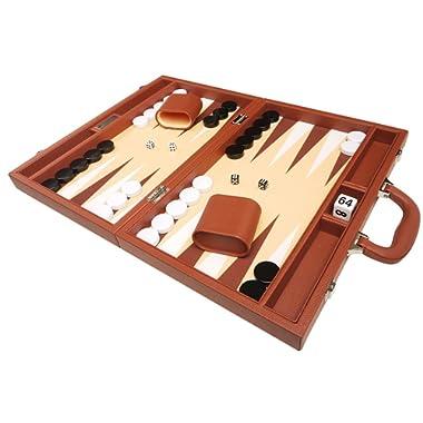 16-inch Premium Backgammon Set - Medium Size - Desert Brown Board