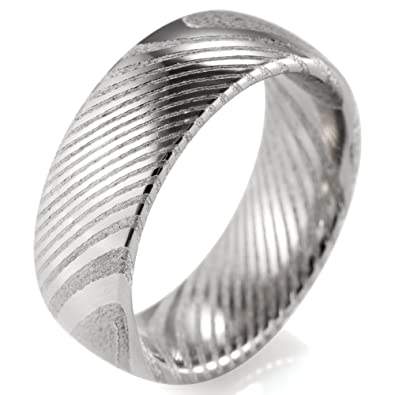 Shardon Men S 8mm Domed Damascus Steel Wedding Ring Amazon Com