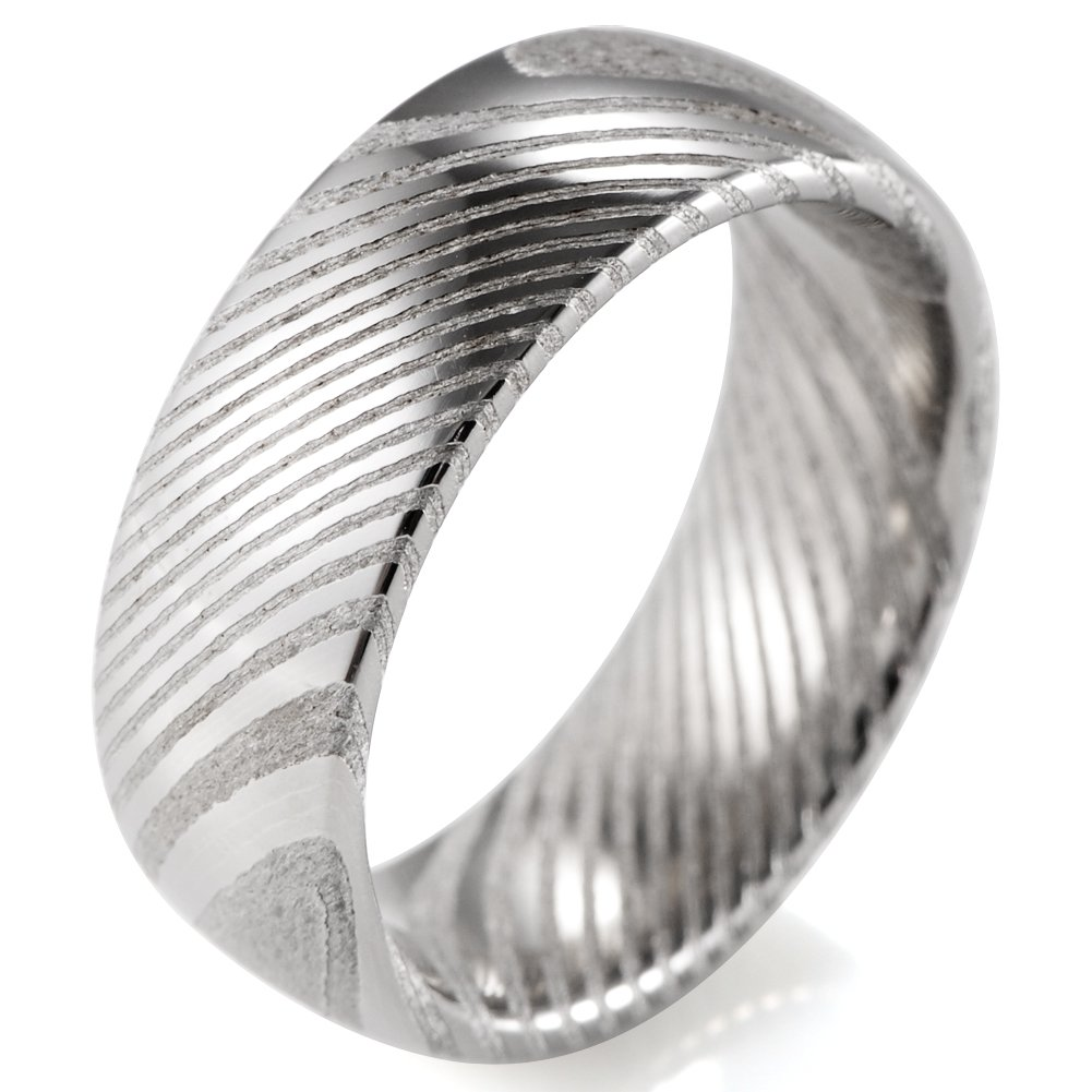 SHARDON Men's 8mm Domed Damascus Steel Wedding Ring Size 10