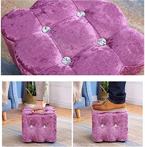 Mocheng Tabouret carré en flanelle naturelle pour enfants Chaise créative Maison Adulte Salon Table basse Tabouret Canapé Mound Poche Banc à chaussures