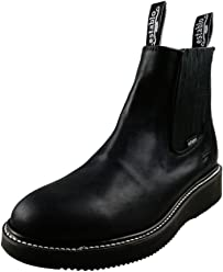 ESTABLO Mens Leather Work Ankle Boots Pull Up Style 551 Cowboy Western Boots Black