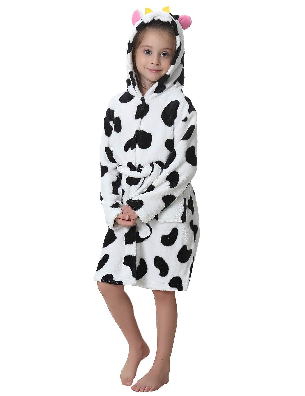 Aibrou Kids Fleece Bathrobe, Cute Unicorn Soft Hoodie Dress Gown Sleepwear Loungewear