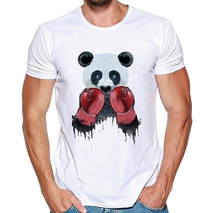 LuckyGirls Camisetas Hombre Verano Camisa Manga Cortos Originales Estampado  de Boxeo Panda Tinta Casuales Deportivas Polos 1cc03e3f93817