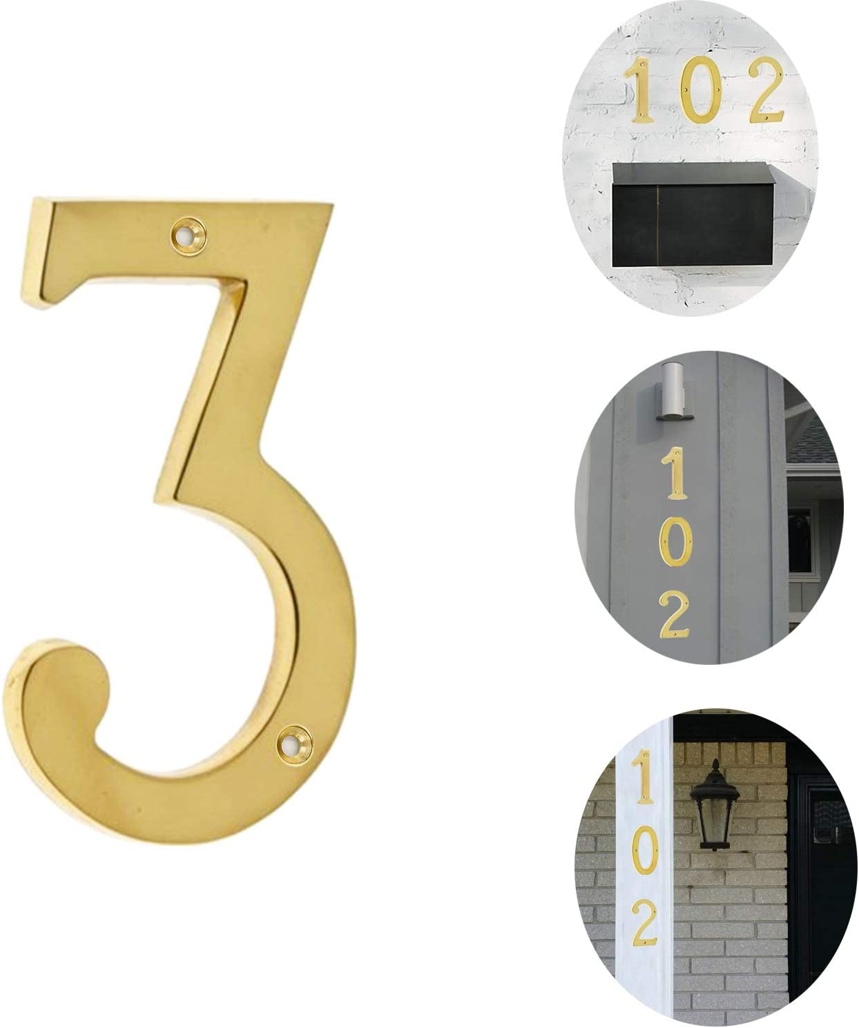 Bebarley 3 Inch Premium Bright Solid Brass Door House Numbers and Street Address Plaques Numbers for Residence and Mailbox Signs.(Number 3)