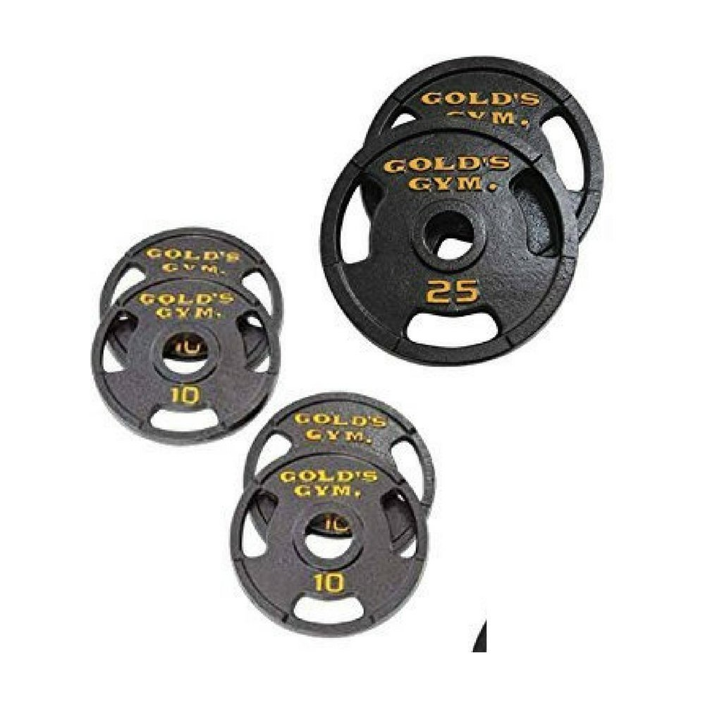 Golds Gym Olympic Plate Set with Grip Plate Design Make Working Out Safer and More Productive (100 lb)