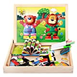 Multifunctional Educational Wooden Jigsaw Puzzle Toys Bear & Lion Change Wooden Magnetic 3D Puzzles Baby's Drawing Easel Board with Blackboard & Whiteboard