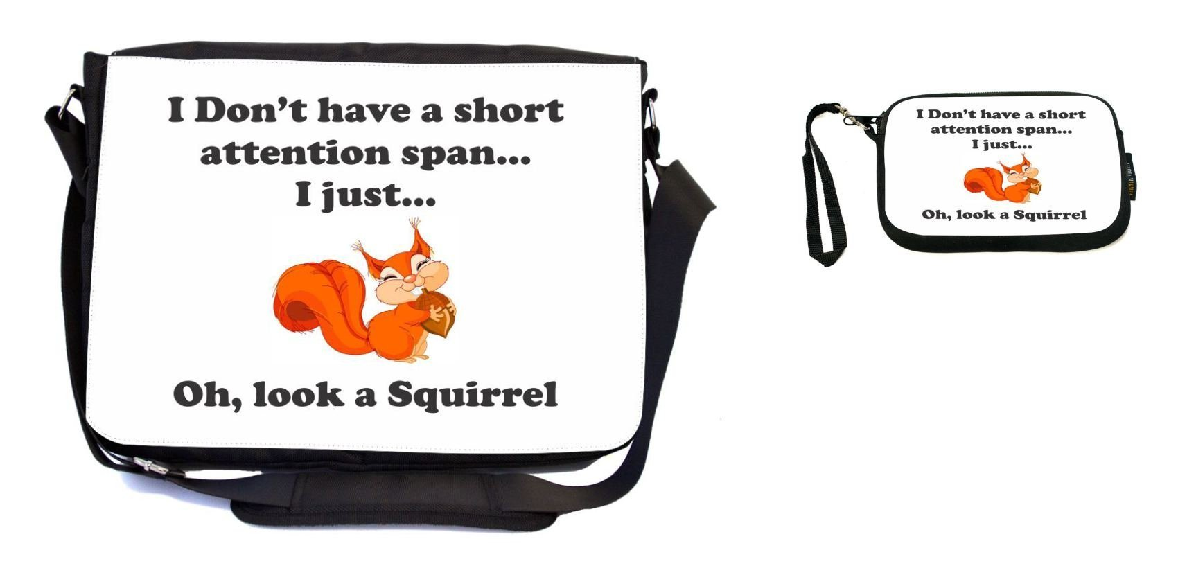 Rikki Knight Funny I Don't Have a Short Attention Span Design Messenger Bag - School Bag - Laptop Bag - with Padded Insert - Includes UKBK Premium Coin Purse