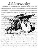 8x10 Fine Art Print, Alice in Wonderland Decorations, the Jabberwocky Sleeping, Encyclopedic Text. Size: 8x10 Inches (WJSTe810)