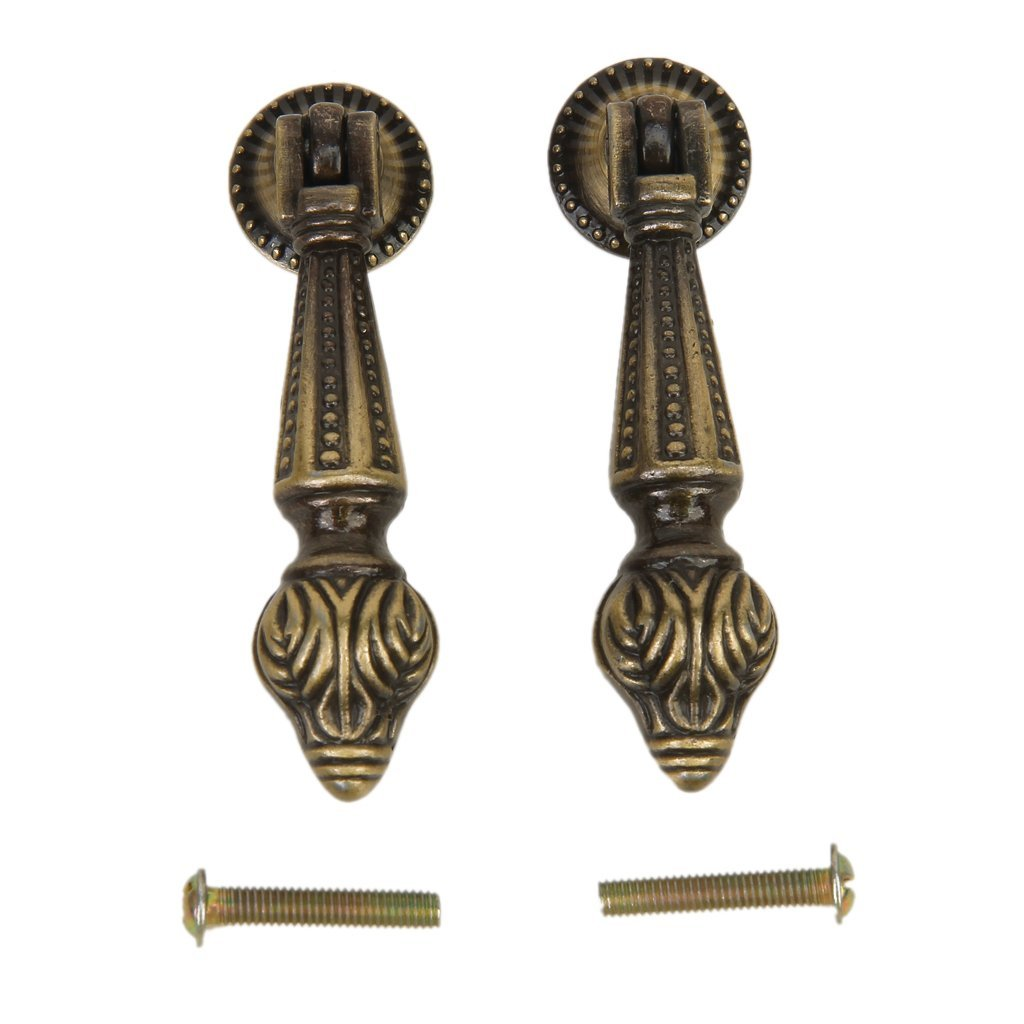 2pcs Antique Cabinet Drawer Bin Drop Pull Knob Hanging Design ...