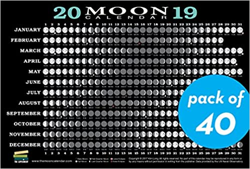 2019 Moon Calendar Card 40 Pack Lunar Phases Eclipses