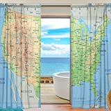 SEULIFE Window Sheer Curtain, The United States American Map Voile Curtain Drapes for Door Kitchen Living Room Bedroom 55x78 inches 2 Panels