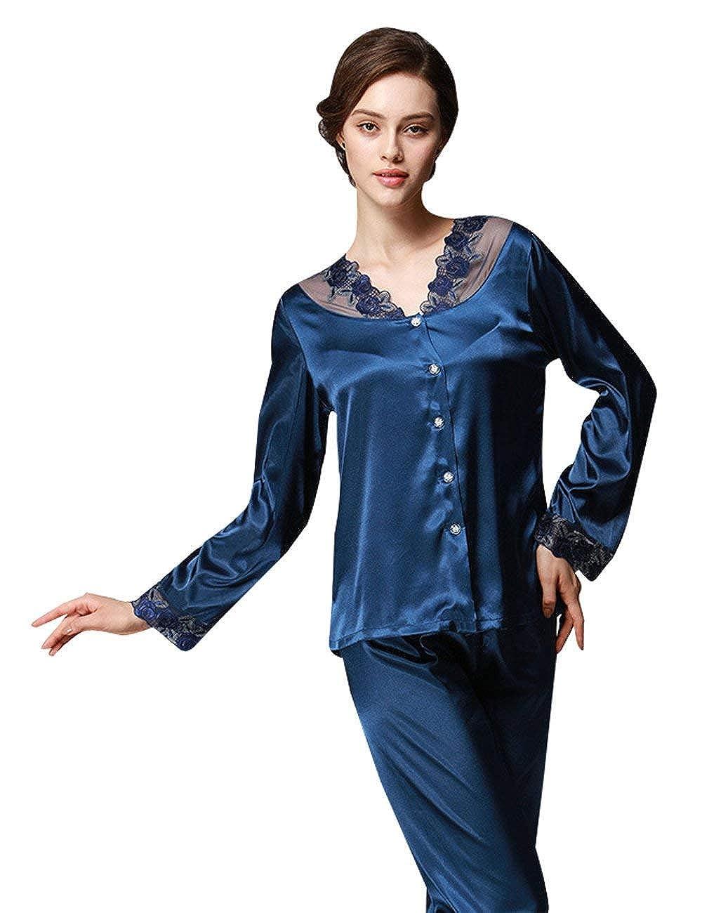 Donna Vestaglia Elegante Moda alla Moda Pigiama Sleepwear Pantalone Tops  Pigiama Moda Due Pezzi Set da cd02959e9a8