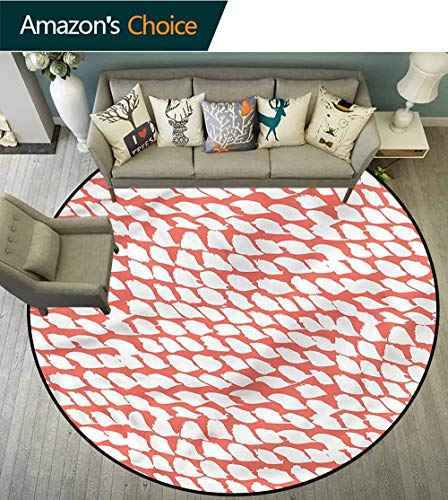 - RUGSMAT Coral Round Area Rug Carpet,60S Psychedelic Brushstrokes Floor Mat Home Decor Round-55