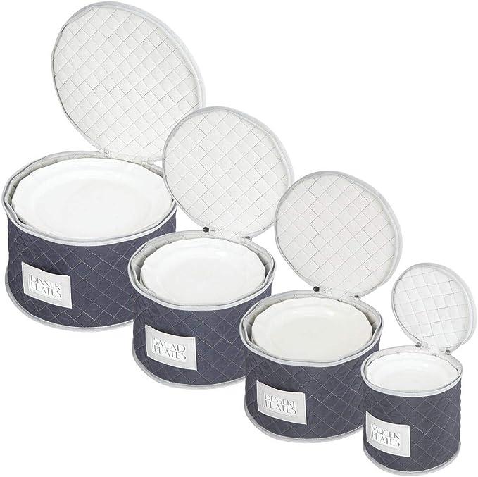 blu navy//grigio Contenitori per piatti con antiurto in feltro mDesign Set da 5 Porta piatti imbottiti Organizer per la cucina ideali per custodire e trasportare piatti per 12 persone