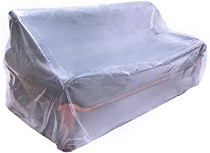 """Plastic Couch Cover,Waterproof Sofa Cover,Waterproof Clear See-Through Plastic Furniture Protector,Sectional Couch Covers Sofa Cover,92"""" Wx42 D"""