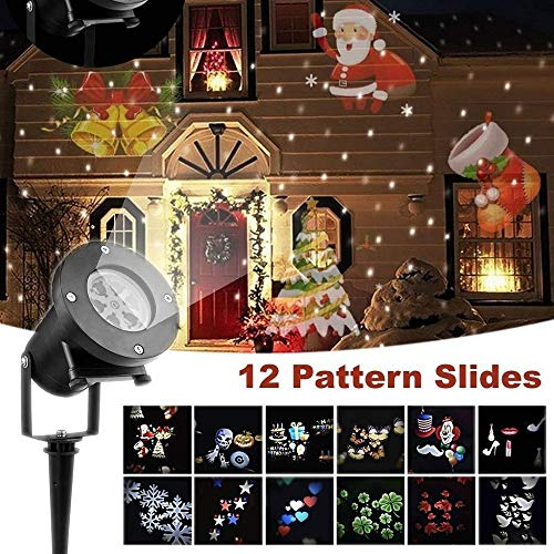Christmas Projector Lights,12 PCS Slides Outdoor Projection Lights,Waterproof