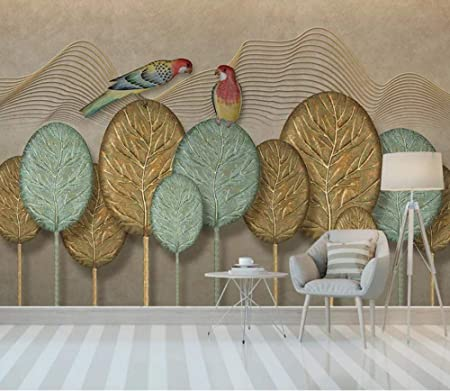 Papier Peint Peinture Murale 3d Relief Oiseau Golden Line