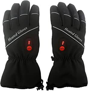 Heated Motorcycle Gloves, Battery Heated Riding Gloves Rechargeable for Outdoor Research, Electric Heating Gloves for Winter, Heating Hunting Gloves with 7.4V 4400mA (2) Batteries