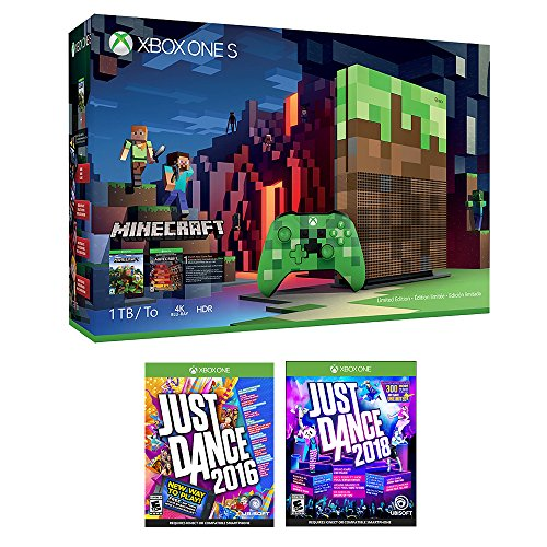 Xbox One Minecraft Dance Bonus Bundle (3 Items): Xbox One S 1TB Limited Edition Minecraft Console with Creeper Controller, Just Dance 2018, and Just Dance 2016 Games