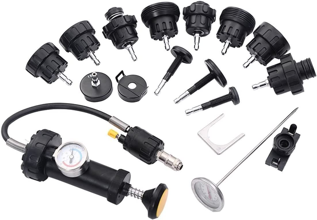 Radiator Pump Pressure Cooling Leak Tester Checker 18Pc Kit Cap Pump Thermometer