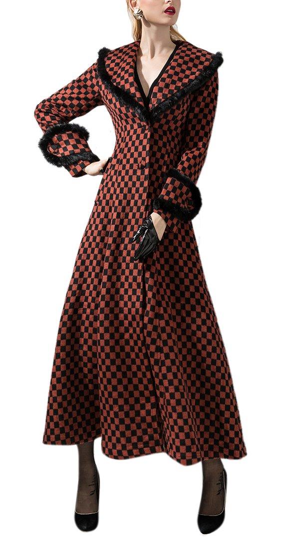 Youtobin Women's Winter Retro Slim Shearling Maxi Wool Coat 3XL Checkerboard