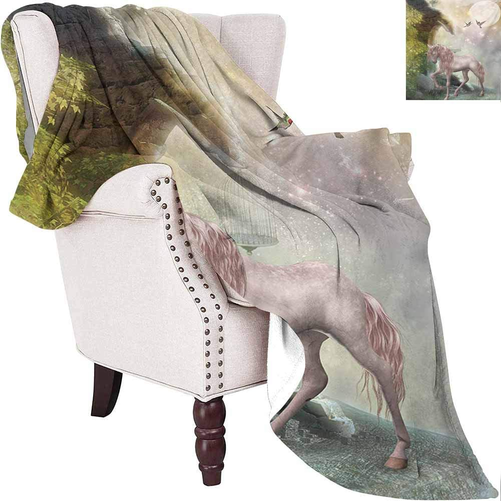 Hummingbirds Bedding Microfiber Blanket Unicorn Gold Color Leaves Birds Twinkling Stars Moon Mystic Fantasy Fairytale Super Soft and Comfortable Luxury Bed Blanket W54 x L72 Inch Multicolor